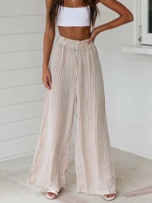 Khaki Striped Print Buttons Fashion Long Wide Leg Pants