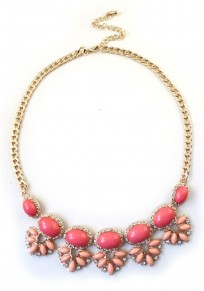 Bright Red Fashion Rhinestone Alloy Bib Necklace