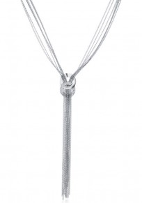 Silver Fashion Alloy Tassel Pendant Necklace