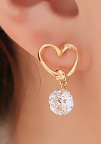 Golden Fashion Rhinestone Pierced Alloy Heart Drop Earrings