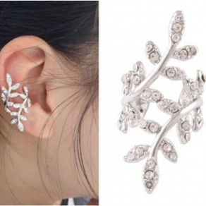 Silver Fashion Alloy Leaf Shape Ear Clip Stud Earring
