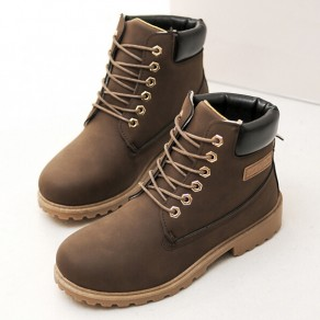 Coffee Round Toe Chunky Lace-up Casual Ankle Boots