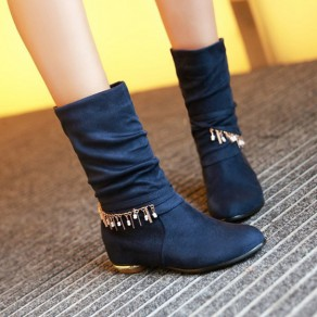 Blue Round Toe Flat Chain Within The Higher Casual Boots