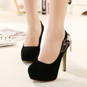 Black Round Toe Stiletto Rhinestone Bow Casual High-Heeled Shoes