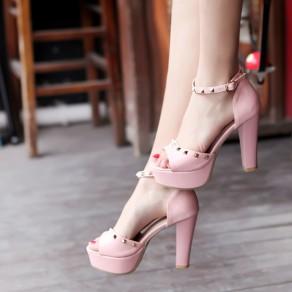 Pink Piscine Mouth Stiletto Rivet Buckled Fashion Sandals