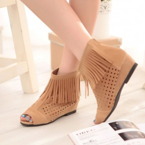 Yellow Piscine Mouth Wedges Tassel Hollow-out Casual Boots