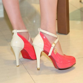 Watermelon Red Round Toe Stiletto Buckled Casual High-Heeled Shoes