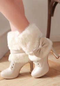 Beige Round Toe Chunky Fur Patchwork Bow Casual Boots
