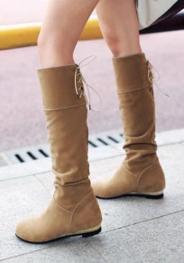 Yellow Round Toe Slip-On Knee-High Casual Boots