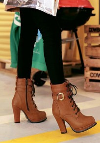Dark Brown Round Toe Chunky Buckle Casual Boots