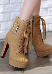 Yellow Round Toe Chunky Double Buckle Fashion Martin Boots