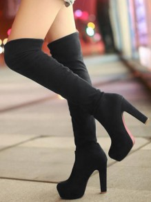 Black Round Toe Chunky Fashion Over-The-Knee Boots