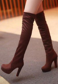 Brown Round Toe Chunky Fashion Over-The-Knee Boots