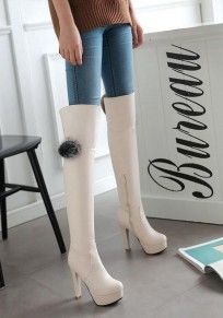 Beige Round Toe Chunky Fashion Over-The-Knee Boots