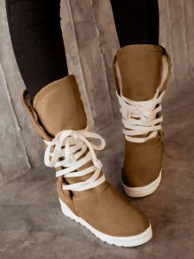 Beige Round Toe Heavy-Soled Lace-up Casual Mid-Calf Boots