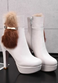 White Round Toe Chunky Faux Fur Patchwork Fashion Ankle Boots