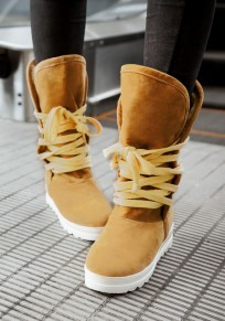 Yellow Round Toe Heavy-Soled Casual Mid-Calf Boots