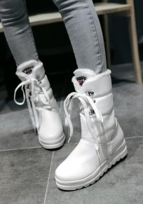 White Round Toe Flat Lace-up Casual Ankle Boots