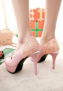 Pink Round Toe Stiletto Sequin Fashion High-Heeled Shoes