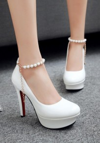 White Round Toe Stiletto Chain Pearl Fashion High-Heeled Shoes