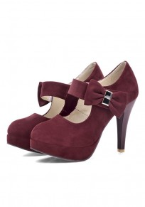 Red Round Toe Stiletto Bow Sweet High-Heeled Shoes