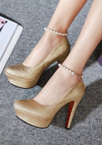 Golden Round Toe Stiletto Sequin Chain Pearl Fashion High-Heeled Shoes