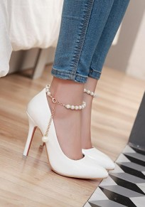 White Point Toe Stiletto Pearl Fashion High-Heeled Shoes