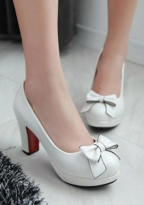 White Round Toe Chunky Bow Sweet High-Heeled Shoes