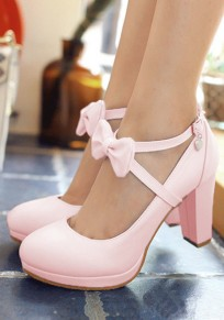Pink Round Toe Chunky Bow Buckle Sweet High-Heeled Shoes