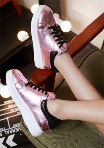 Pink Round Toe Flat Lace Stitching Casual Ankle Shoes