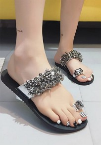 Silver Round Toe Flat Rhinestone Beads Fashion Slippers