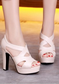 Beige Piscine Mouth Chunky Hollow-out Casual Sandals