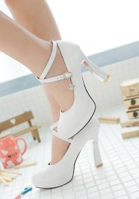 White Round Toe Chunky Rhinestone Buckle Sweet High-Heeled Shoes