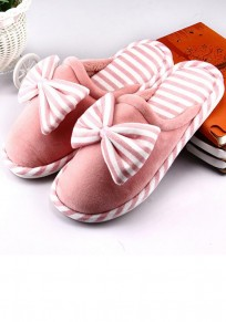 Pink Round Toe Bow Striped Print Flat Casual Slippers