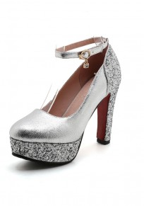 Silver Round Toe Chunky Sequin Buckle Fashion High-Heeled Shoes
