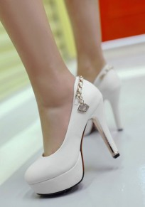 White Round Toe Chunky Rhinestone Fashion High-Heeled Shoes