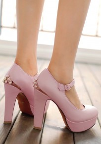 Pink Round Toe Chunky Pearl Buckle Fashion High-Heeled Shoes