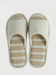Beige Round Toe Flat Plaid Print Casual Slippers