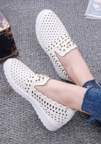 White Round Toe Flat Hollow-out Casual Shoes