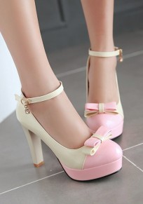 Beige Round Toe Chunky Bow Buckle Sweet High-Heeled Shoes