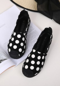 Black Round Toe Flat Polka Dot Print Casual Shoes