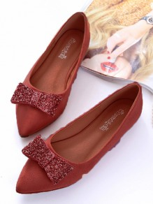 Pink Point Toe Sequin Bow Casual Flat Shoes