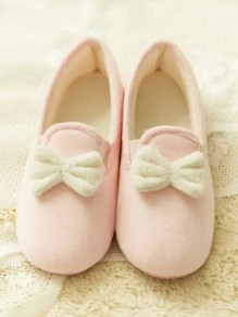 Pink Round Toe Flat Bow Sweet Ankle Shoes