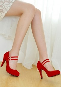 Red Round Toe Stiletto Double Buckle Casual High-Heeled Shoes
