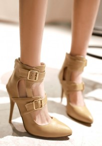 Apricot Point Toe Stiletto Buckle Zipper Fashion High-Heeled Shoes
