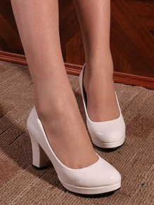 White Round Toe Chunky Casual High-Heeled Shoes