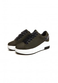 Green Round Toe Flat Lace-up Casual Shoes