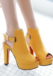 Yellow Piscine Mouth Chunky Buckle Fashion High-Heeled Sandals