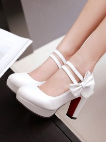 White Round Toe Chunky Bow Fashion High-Heeled Shoes
