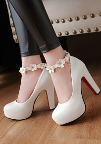 White Round Toe Chunky Flower Patchwork Fashion Buckle High-Heeled Shoes